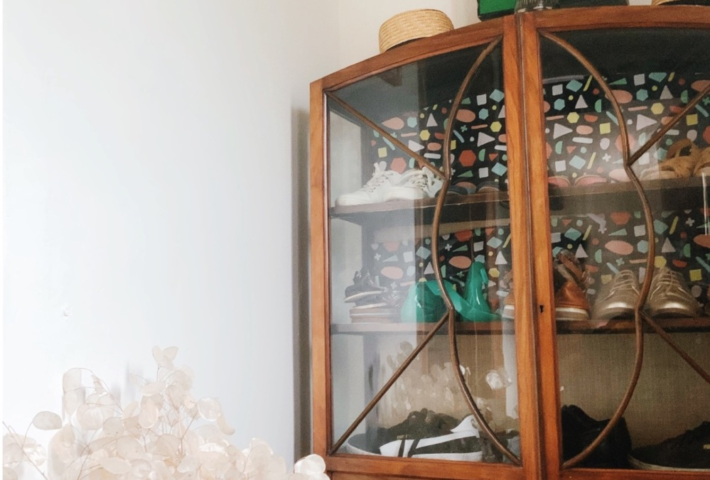 Vintage Glass Shoes Cabinet