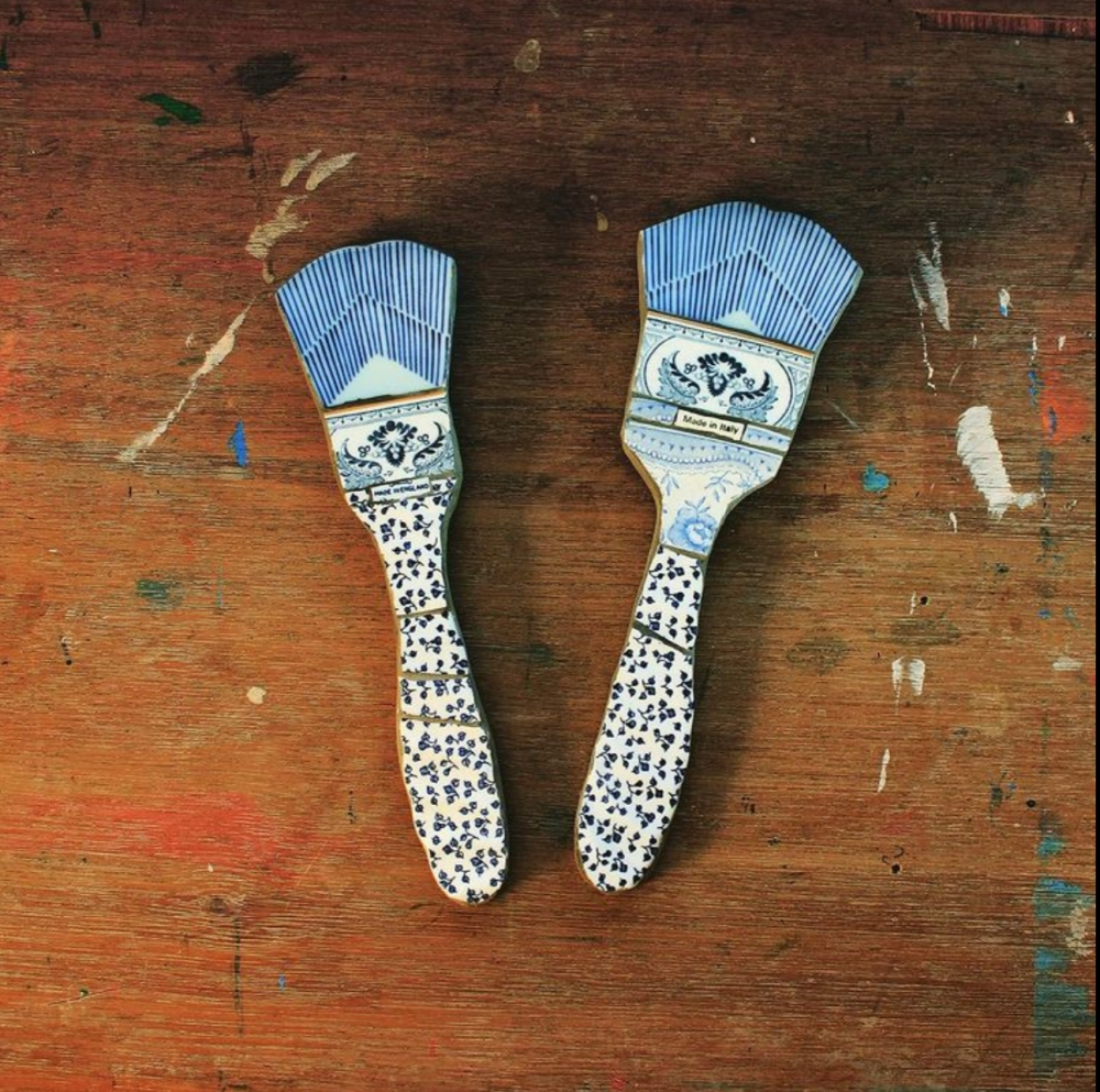 2D mosaic of old ceramic shaped to paintbrushes